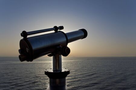 Close up of a telescope facing the Atlantic in summer