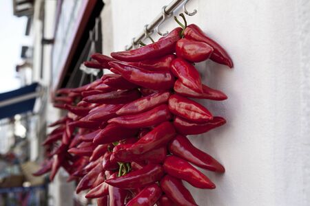 Red peppers hanging at the front of a grocery store in the Basque Country in France Reklamní fotografie