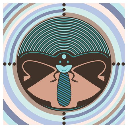 Graphic composition of a pattern with an insect and concentric circles