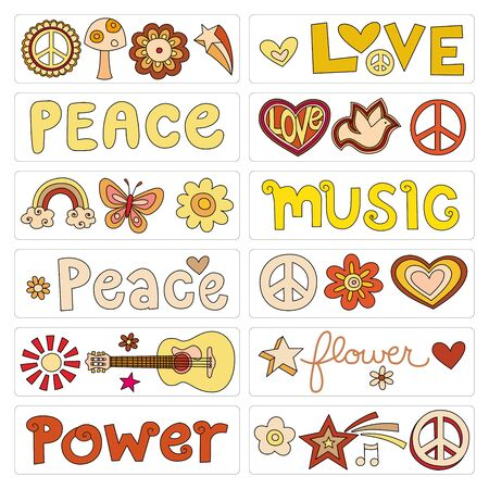 Graphic elements for a peace and love background