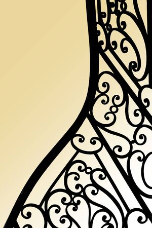 Close up of a classic wrought iron stair railing inside a French mansion