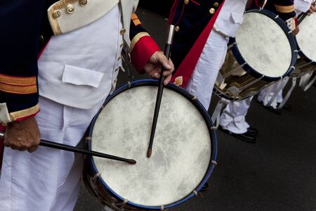 Close up of drums in a French marching band during a parade Reklamní fotografie