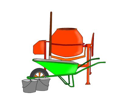 Bricklayer, concrete mixer and wheelbarrow equipment for masonry work. 写真素材