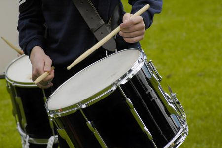 drumming:  Boy drumming in a marching band Stock Photo