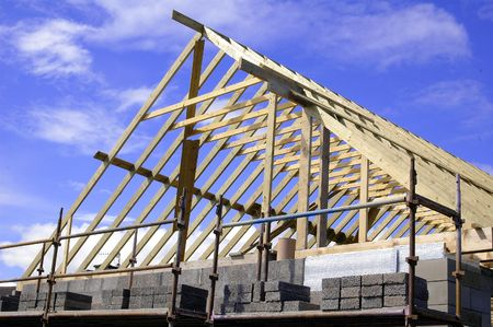 dwelling: Private dwelling house under construction Stock Photo