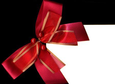Christmas card - red ribbon photo
