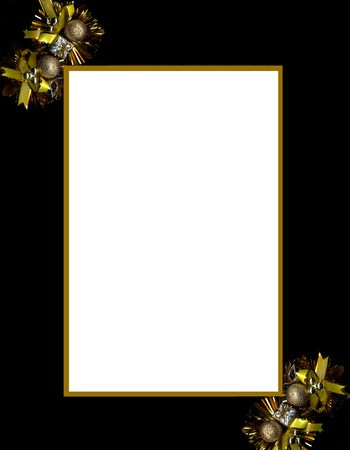 Black frame with gold christmas decorations Stock Photo - 5753552