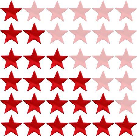 evaluacion: Star rating de uno a seis sobre un fondo blanco