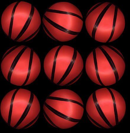 basketballs: nine basketballs
