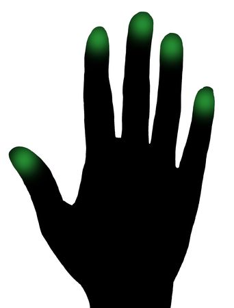 thumb print: black hand with green fingers