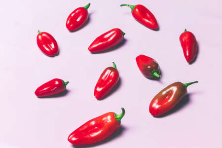 sweet peppers: Red Sweet Peppers on Pink Background