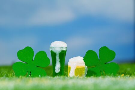Saint Patrick's Day Beers Outdoors in Meadow on a Beautiful Day