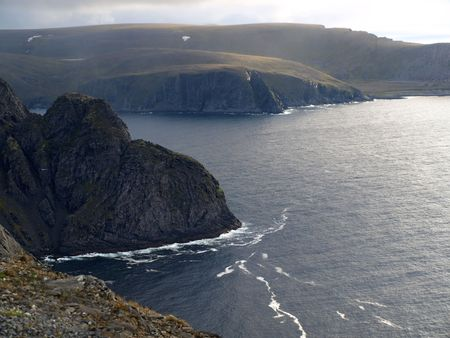 ruggedness:  View from North Cape Norway.    Stock Photo
