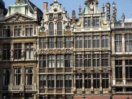 townhouses: Townhouses at Market Square in Brussels     Stock Photo