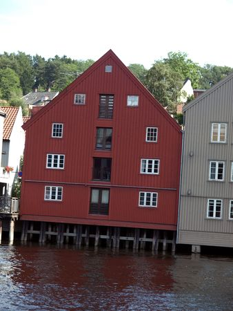 stilts: House on stilts in Trondheim Stock Photo