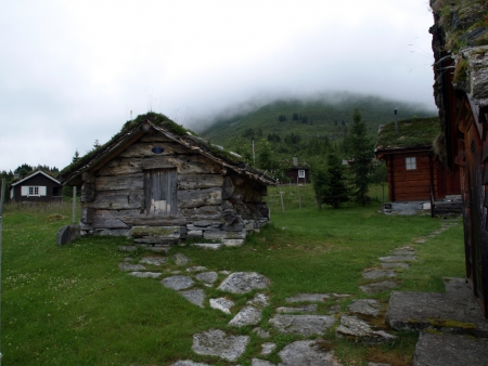 norwegian: Old wooden house in Norwegian mountains Stock Photo