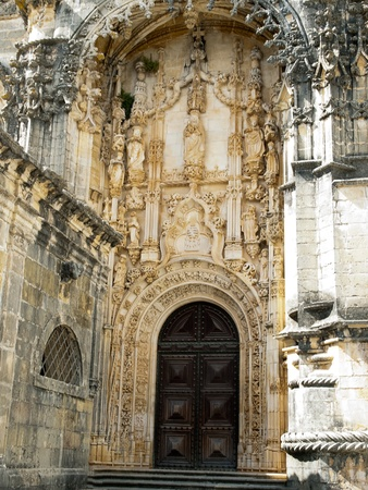 convento: Tomar-Portal of Church  Convento de Cristo. Stock Photo