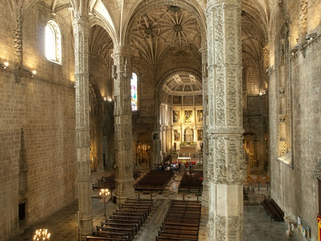 Mosteiro dos Jeronimos-The ceiling in the nave of the church,BelemLisbon,Portugal