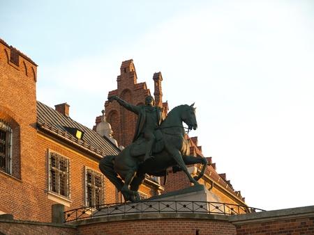 Pomnik Tadeusza Kościuszki na koniu, na Wawelu, Kraków, Polska Zdjęcie Seryjne - 13151263