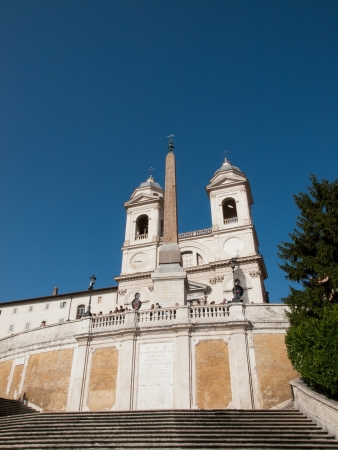 monti: The Trinity dei Monti Church and Spanish Steps in Rome,Italy Editorial