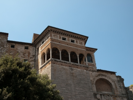 etruscan: Balcony over the  Etruscan Arch in Perugia Editorial