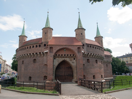 fortification: View of Krakow barbican -old fortification Editorial