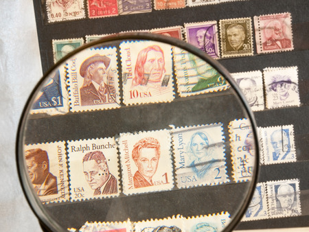 Postage stamps in the stamp-album