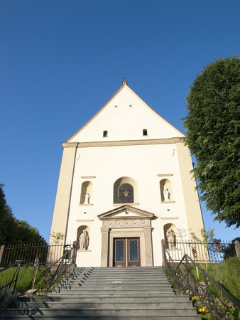 michael the archangel: The facade of the Saint Michael Archangel Church in Zebrzydowice ,Poland