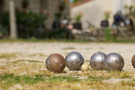Set of old rusty boules - french petanque game.