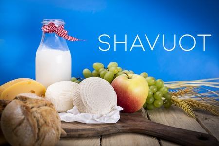 Composition of products symbolizing the Shavuot festival. Top view Reklamní fotografie