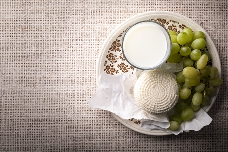 Composition of products symbolizing the Shavuot festival