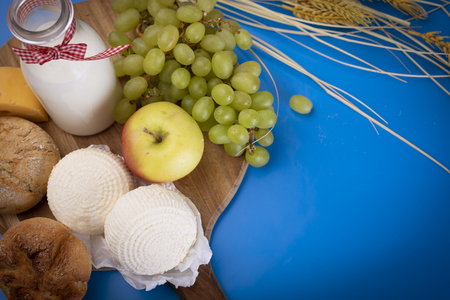 Shavuos, dairy products and fruits. Traditional Jewish holiday