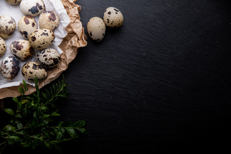 A composition of quail eggs on a dark background. Place for text Imagens - 124972030