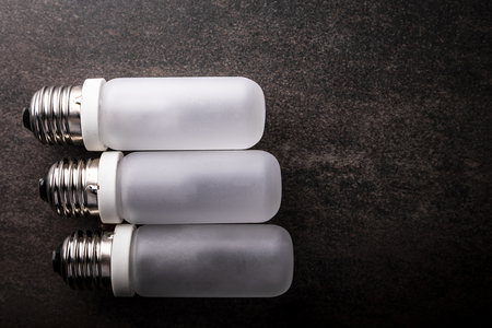 Bulb composition on a dark background, horizontal composition with space for text.