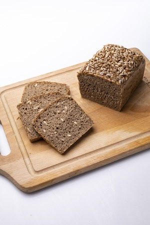 Traditional bread on a white background, space for text.