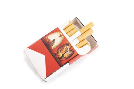 Pack of cigarettes on a white background. Banque d'images