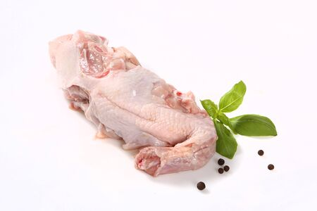 Chicken meat on a white background.