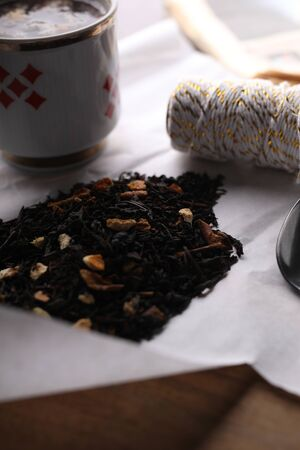 An aromatic blend of teas and dried fruits.
