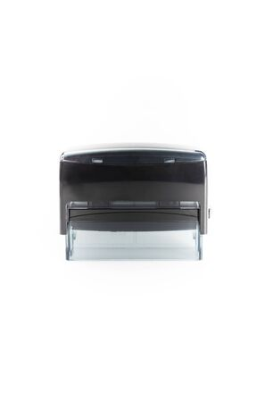 Black automatic stamp. Modern plastic rubber stamp on a white background. Stock Photo