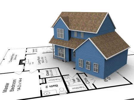 New build house on a set of building plans