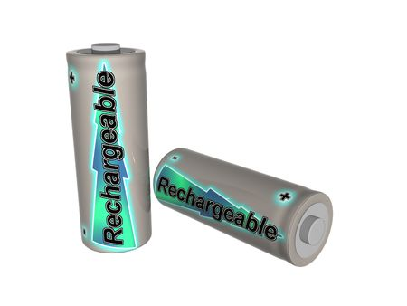 Two rechargeable AA size  batteries Stock Photo