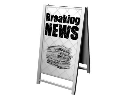 image of a news board with the headling breaking news Stock Photo