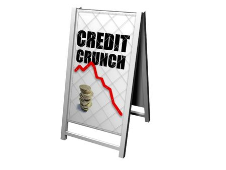 image of a news board with the headling credit crunch Stock Photo