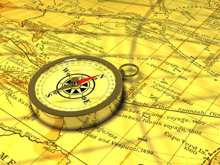 A magnetic compass on an old map
