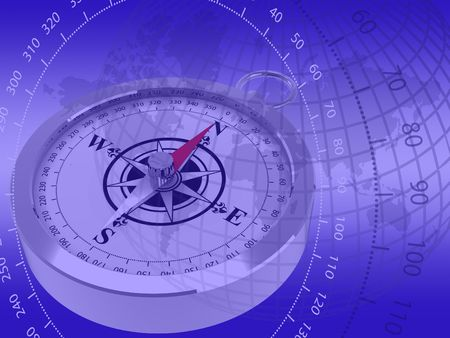 Abstract image of a compass on a blue graduated background