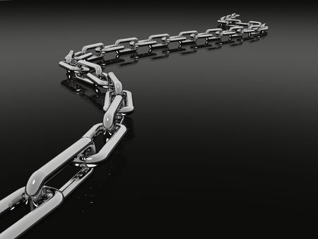 image of a chain on a black reflective surface Stock Photo