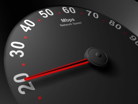 Abstract image of a speedometer showing speed in Mbps