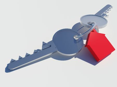 Image of two sets of keys with a red house attached