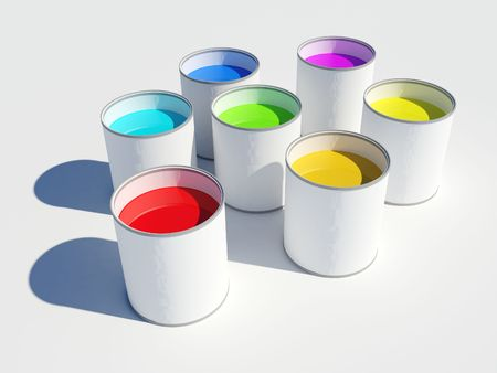 Image of seven pots of paint showing the colors of a rainbow Stock Photo