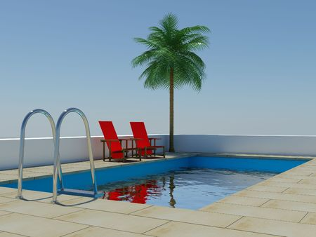Image of a swimming pool and palm tree